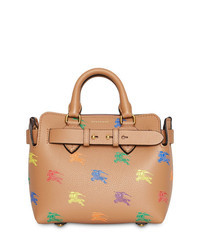 Borsa shopping in pelle stampata marrone chiaro