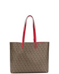 Borsa shopping in pelle stampata marrone di DKNY