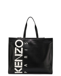 Borsa shopping in pelle stampata nera di Kenzo