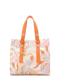 Borsa shopping in pelle stampata rosa di Emilio Pucci