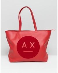 Borsa shopping in pelle stampata rossa di Armani Exchange