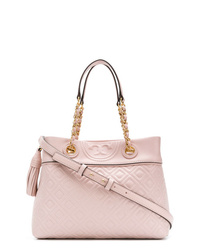 Borsa shopping in pelle trapuntata rosa di Tory Burch