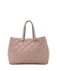 Borsa shopping in pelle trapuntata rosa di Valentino