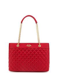 Borsa shopping in pelle trapuntata rossa di Love Moschino