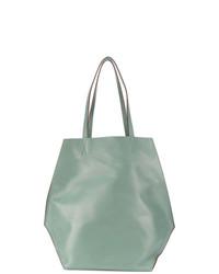 Borsa shopping in pelle verde menta di Marni
