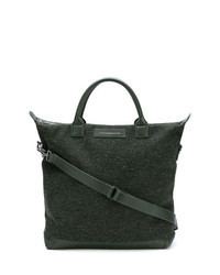 Borsa shopping in pelle verde scuro
