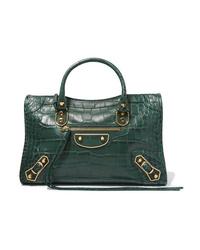 Borsa shopping in pelle verde scuro di Balenciaga