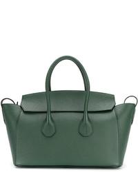 Borsa shopping in pelle verde scuro di Bally