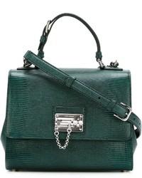 Borsa shopping in pelle verde scuro di Dolce & Gabbana
