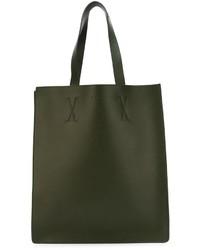 Borsa shopping in pelle verde scuro di Marni