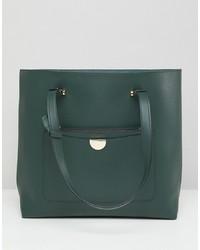 Borsa shopping in pelle verde scuro di New Look
