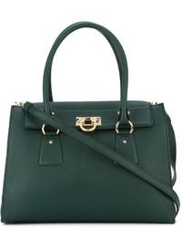 Borsa shopping in pelle verde scuro di Salvatore Ferragamo