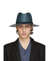 Borsalino di paglia blu scuro di Giorgio Armani