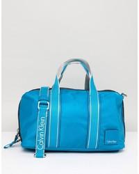 Borsone in pelle blu di Calvin Klein