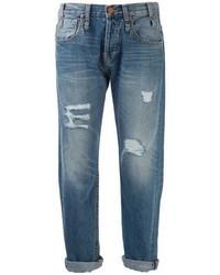 Boyfriend jeans strappati blu