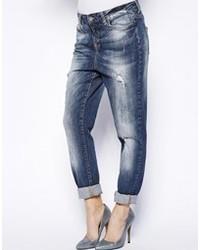 Boyfriend jeans strappati blu scuro di Vero Moda