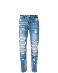 Boyfriend jeans strappati blu di Philipp Plein