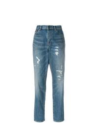 Boyfriend jeans strappati blu di Saint Laurent