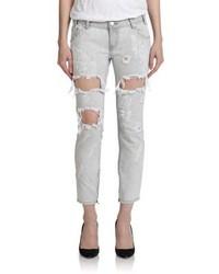 Boyfriend jeans strappati grigi