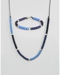 Bracciale con perline azzurro