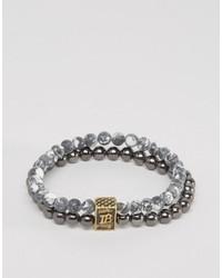 Bracciale con perline grigio di Icon Brand