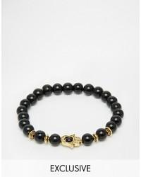 Bracciale con perline nero di Reclaimed Vintage