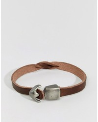 Bracciale in pelle marrone di Jack and Jones