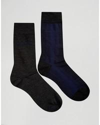 Calzini di lana grigio scuro di Hugo Boss