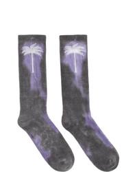 Calzini effetto tie-dye grigio scuro di Palm Angels