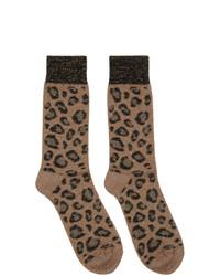 Calzini leopardati marrone chiaro di Versace