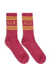 Calzini stampati fucsia di Versace