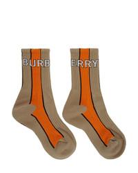 Calzini stampati marrone chiaro di Burberry