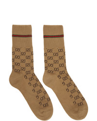 Calzini stampati marrone chiaro di Gucci