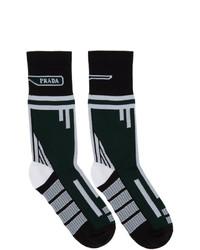 Calzini stampati verde scuro di Prada