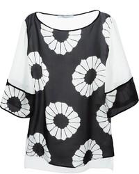 Camicetta a maniche corte a fiori nera e bianca di Blumarine