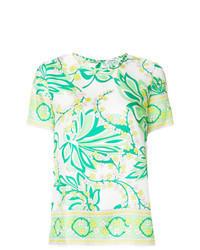 Camicetta manica corta a fiori verde