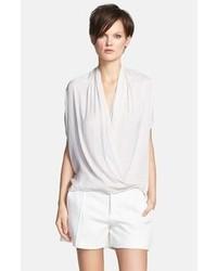 Camicetta manica corta di seta bianca