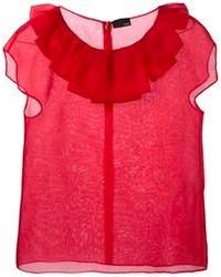 Camicetta manica corta di seta rossa di Fendi