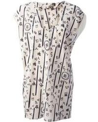 Camicetta manica corta di seta stampata bianca di Balenciaga