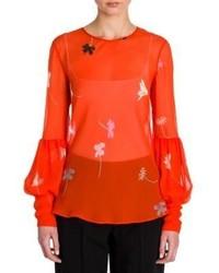 Camicetta manica lunga a fiori arancione