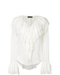 Camisetta a maniche lunghe con volant bianca
