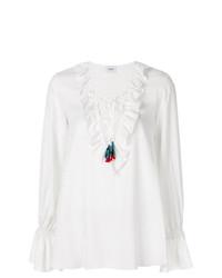 Camisetta a maniche lunghe con volant bianca di Dondup