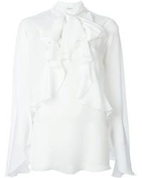 Camisetta a maniche lunghe con volant bianca di Givenchy