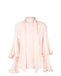Camicetta manica lunga con volant rosa