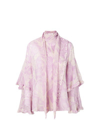 Camicetta manica lunga con volant rosa di Chloé