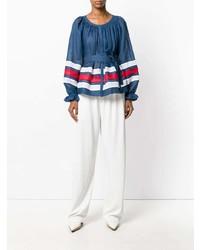 Camicetta manica lunga di lino a righe orizzontali blu di Vita Kin