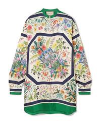 Camicetta manica lunga di seta a fiori bianca di Gucci