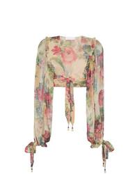Camicetta manica lunga di seta a fiori multicolore di Zimmermann