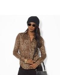 Camicetta manica lunga leopardata marrone chiaro