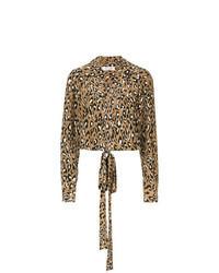 Camicetta manica lunga leopardata marrone